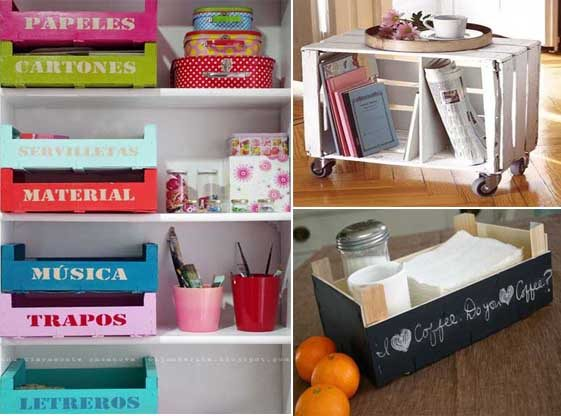 20 ideas para decorar con cajas recicladas mil ideas de for Adornos de dormitorios reciclados