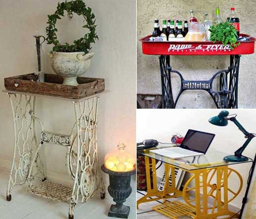 25 ideas para convertir una antigua m quina de coser en un for Decoracion reciclaje muebles