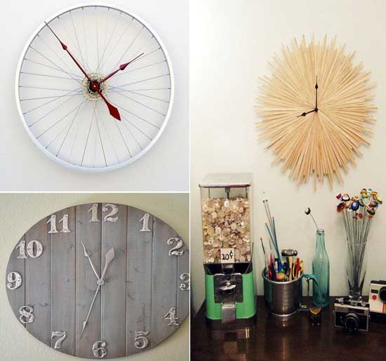 20 ideas diy para crear relojes de pared con objetos for Relojes de salon modernos