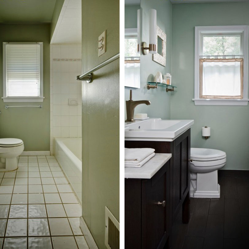 Before and after bathroom decoration