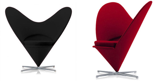 sillon heart chair rojo y negro