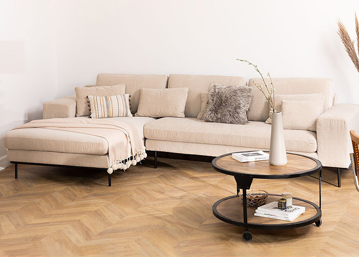 Light beige sofa with 4 seats