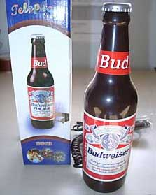 telefono fijo con forma de botella de cerveza budweiser