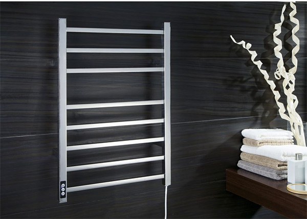 A designer heated towel rail with timer