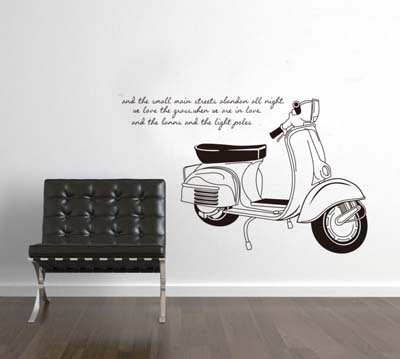 45 vinilos decorativos hermosos originales y modernos for Vespa decoracion